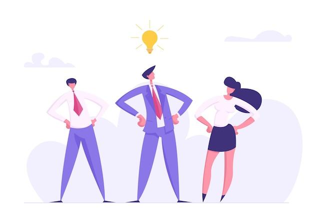 Ilustración de concepto de éxito de trabajo en equipo de innovación empresarial