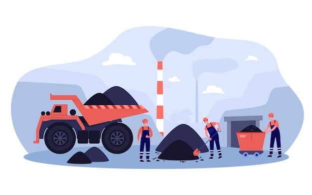 Ilustración del concepto de extracción de carbón