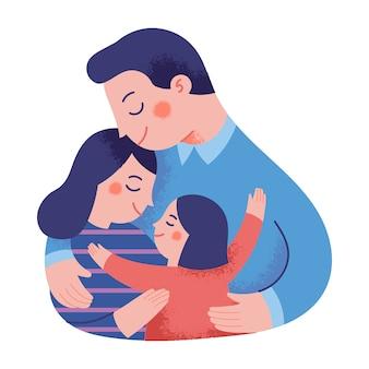 Ilustración del concepto de una familia feliz abrazándose