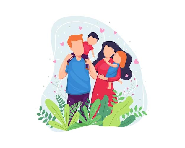 Ilustración concepto de familia feliz