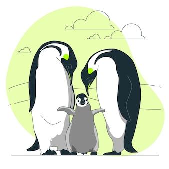 Ilustración del concepto de familia pingüino