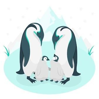 Ilustración del concepto de familia de pingüinos