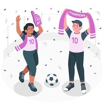 Ilustración de concepto de fanáticos del fútbol