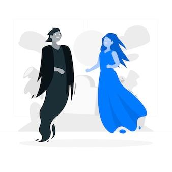 Ilustración del concepto de fantasmas