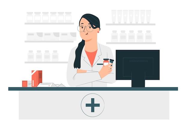 Ilustración del concepto de farmacéutico