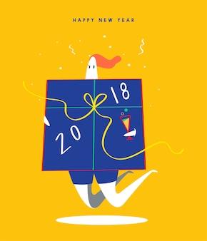 Ilustración de concepto de feliz año nuevo 2018