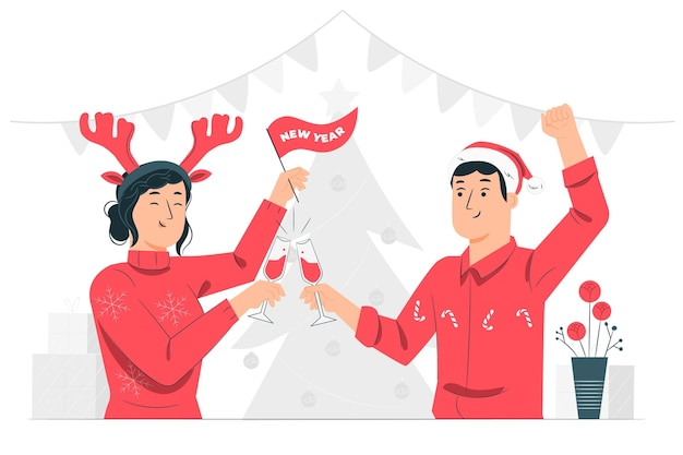 Ilustración del concepto de feliz año nuevo