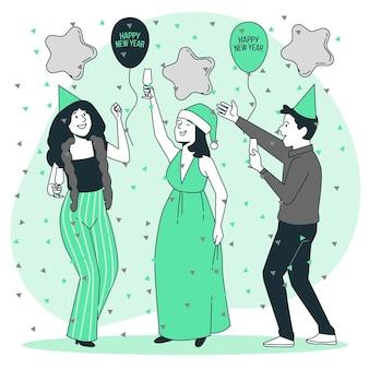 Ilustración de concepto de feliz año nuevo
