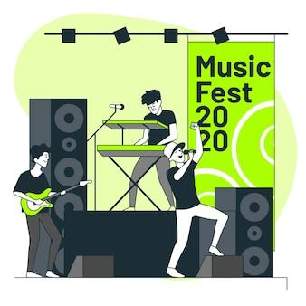 Ilustración del concepto de festival de música