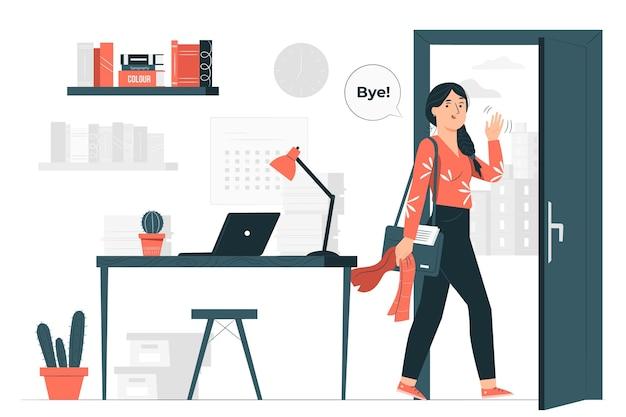 Ilustración del concepto de fin de jornada laboral