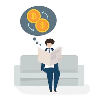 Ilustración del concepto financiero de negocios avatar de personas