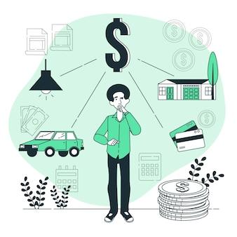 Ilustración del concepto de finanzas personales