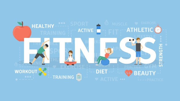 Ilustración del concepto de fitness. idea de deporte, salud y bienestar.