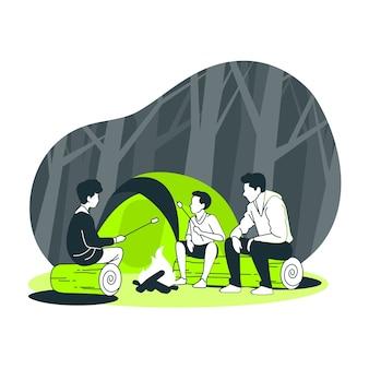 Ilustración del concepto de fogata