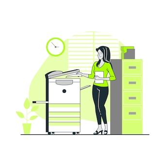 Ilustración del concepto de fotocopiar