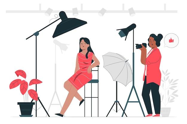 Ilustración del concepto de fotógrafo de estudio