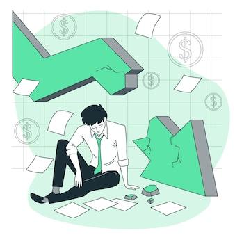 Ilustración de concepto de fracaso empresarial