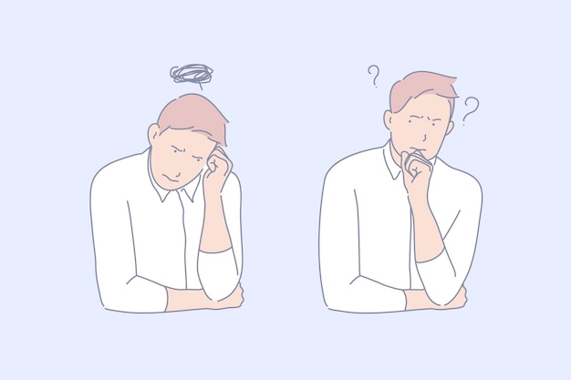 Ilustración del concepto de frustración y depresión