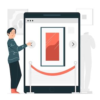Ilustración del concepto de galería en línea