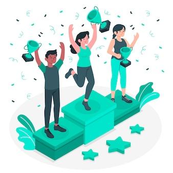 Ilustración del concepto de ganadores