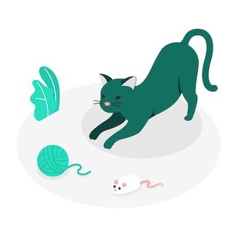 Ilustración de concepto de gato juguetón