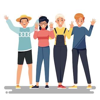 Ilustración con concepto de gente joven