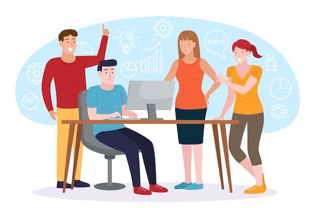 Ilustración con concepto de gente de negocios