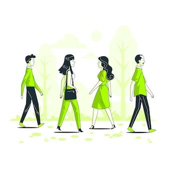 Ilustración de concepto de gente pasando