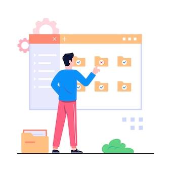 Ilustración del concepto de gestión de dokument