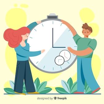 Ilustración del concepto de gestión del tiempo para la página de inicio