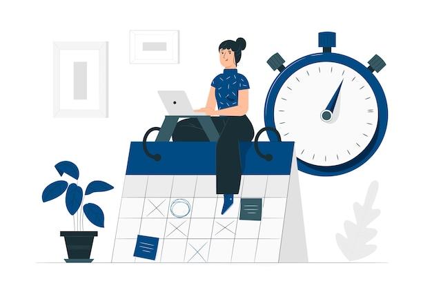 Ilustración del concepto de gestión del tiempo