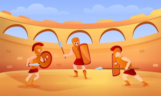Ilustración de concepto de gladiador, estilo de dibujos animados