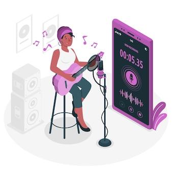 Ilustración del concepto de grabación