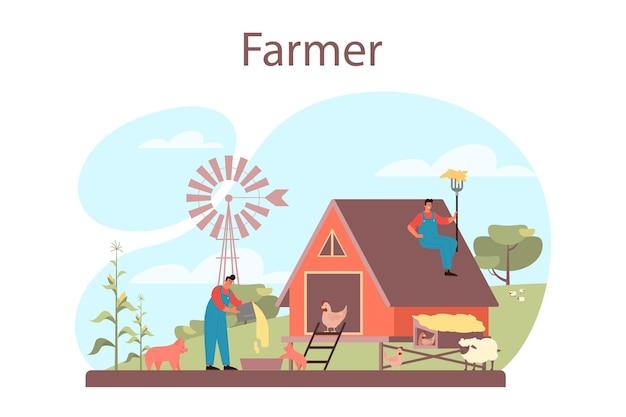 Ilustración del concepto de granjero