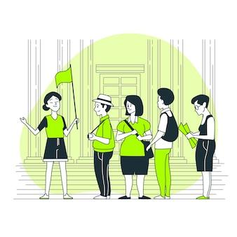 Ilustración del concepto de guía de turismo
