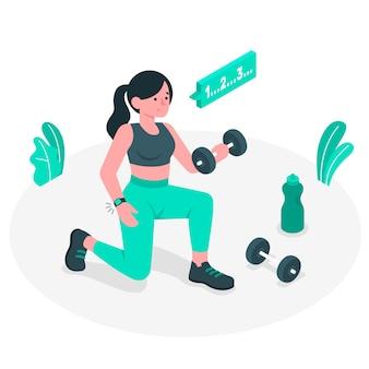 Ilustración del concepto de hacer deporte