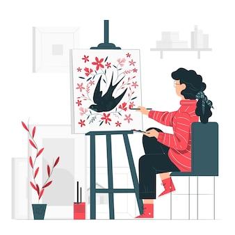 Ilustración del concepto de haciendo arte
