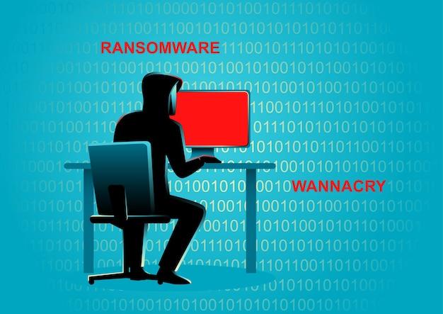 Ilustración del concepto de un hacker detrás de la computadora de escritorio