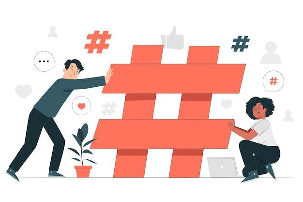 Ilustración del concepto de hashtag de construcción