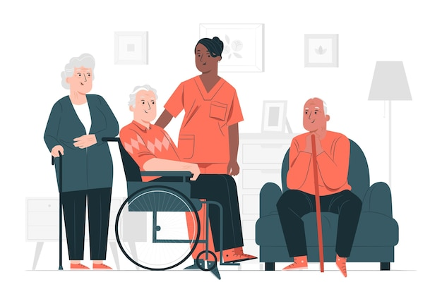 Ilustración del concepto de hogar de ancianos