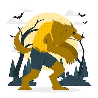Ilustración del concepto de hombre lobo