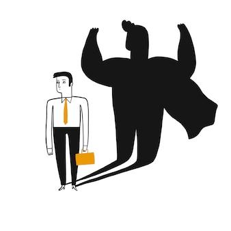 Ilustración del concepto de un hombre de negocios revelado como un superhéroe por su sombra.