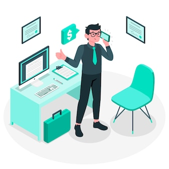 Ilustración del concepto de hombre de negocios