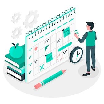 Ilustración del concepto de horario