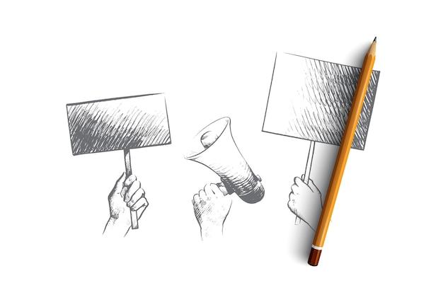 Ilustración del concepto de huelga