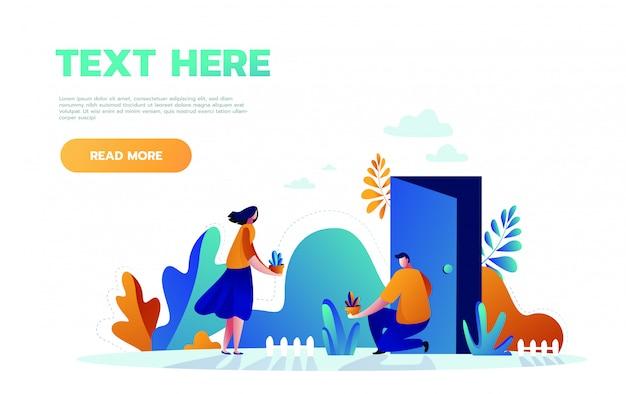 Ilustración concepto icono del día mundial del medio ambiente. familia joven plantar árboles juntos
