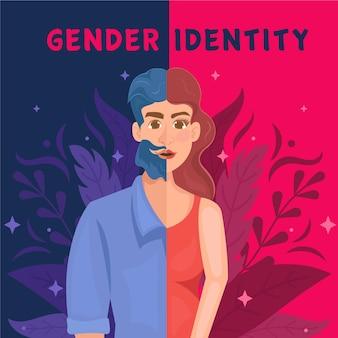 Ilustración del concepto de identidad de género con hombre y mujer