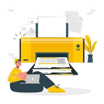 Ilustración de concepto de impresión de facturas