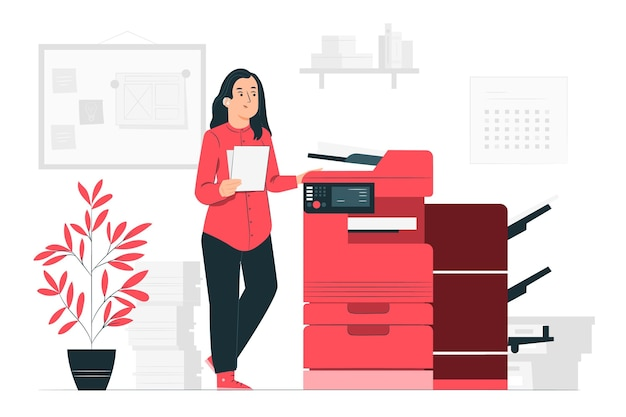 Ilustración del concepto de impresora