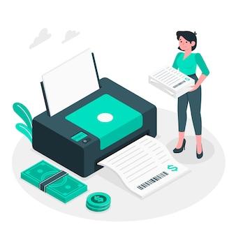 Ilustración del concepto de imprimiendo facturas